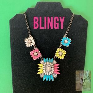 Colorful statement necklace with rhinestones